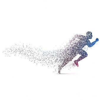 Mann läuft backgorund mit dynamischen partikeln hergestellt