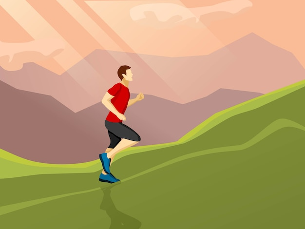 Mann läuft flach symbol