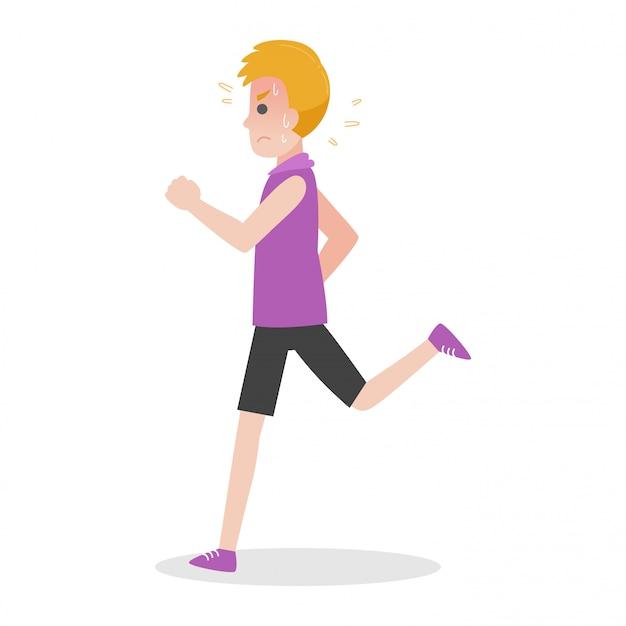 Mann läuft heatstroke medical heath care-konzept sport im freien