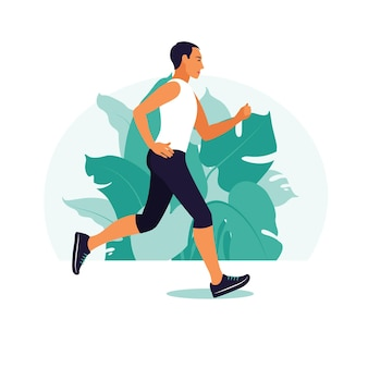 Mann läuft im park. er macht körperliche aktivität im freien im park.