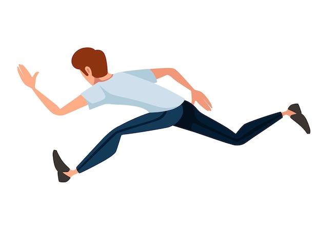 Mann läuft super schnelle cartoon-charakter-design flache vektor-illustration