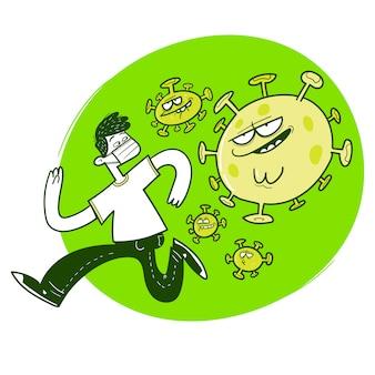Mann läuft von covid-19-virus