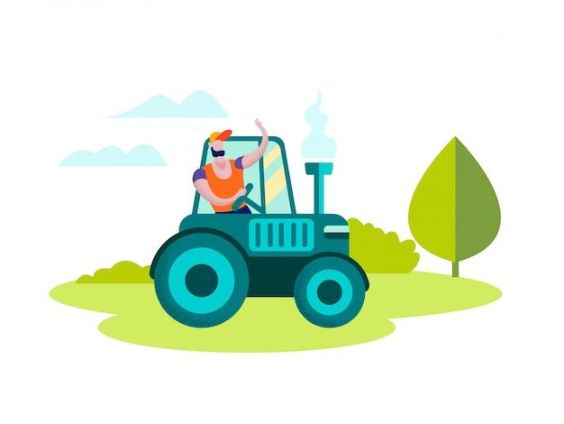 Mann-landwirt driving tractor auf naturlandschaft