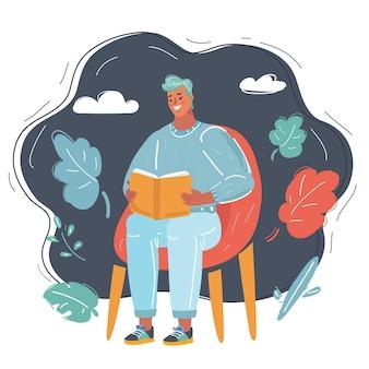 Mann liest auf stuhl
