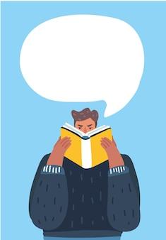 Mann liest ein buch mit sprechblasen