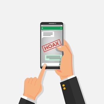 Mann liest gefälschte nachrichten, die auf gruppenchat-nachrichten-app verbreitet werden.