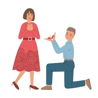 Mann macht heiratsantrag zur frau. kniender junge hält einem mädchen eine schachtel mit einem ehering hin. beide lächeln. zeichentrickfiguren isoliert.