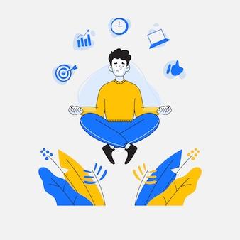 Mann macht meditation