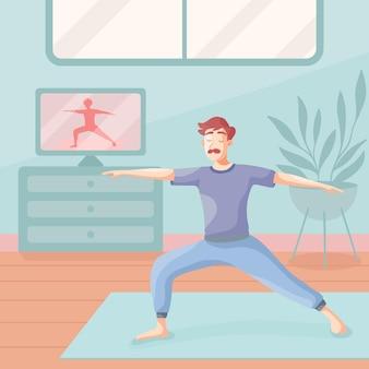 Mann macht yoga zu hause