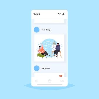 Mann malt porträt von fettleibigen fetten mädchen modell posiert auf stuhl künstler zeichnung auf leinwand an staffelei kreative kunst hobby fettleibigkeit konzept smartphone bildschirm online mobile app