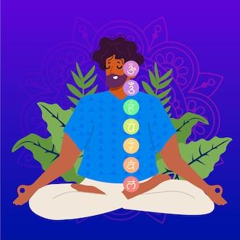 Mann meditiert mit mystischem symbol