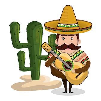 Mann mexikaner mit gitarre und kaktus grafik