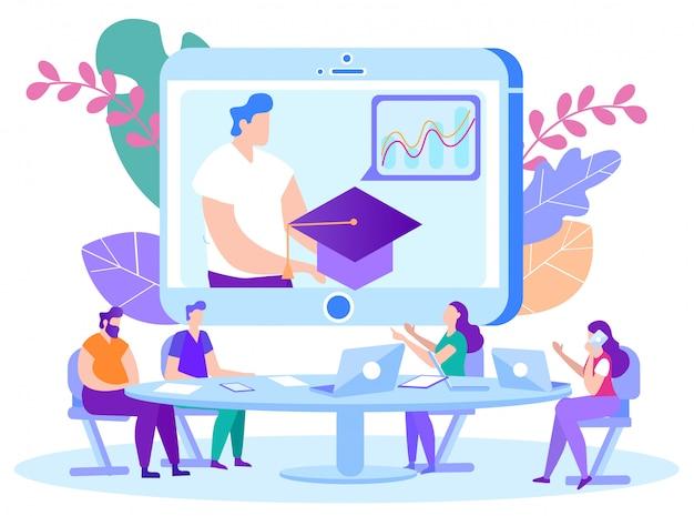Mann mit abschlusskappe in den händen auf monitor front students. online-unterricht. e-learning. onlinetraining. mann mit laptop.