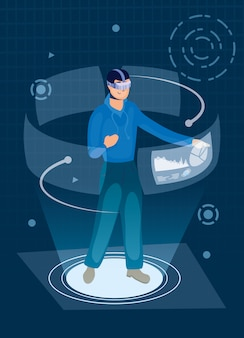 Mann mit augmented reality-technologie