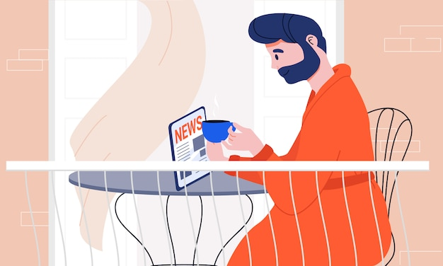 Mann mit bart im bademantel, der die neuesten nachrichten auf einem tablett liest und seinen morgenkaffee zu hause auf dem balkon hebt. gut informiert und auf dem neuesten stand sein. alltagsrituale. moderne lebensgewohnheiten.