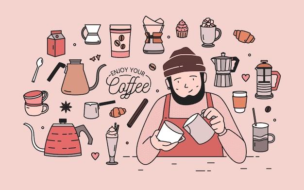 Mann mit bart trägt hut und schürze, umgeben von desserts, gewürzen und werkzeugen zum kaffeebrühen