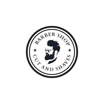 Mann mit bart vintage barbershop logo vorlagen