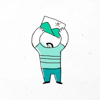 Mann mit bergbild-vektor-cartoon-symbol