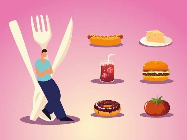 Mann mit besteck burger sandwich donut käse und saft essen illustration
