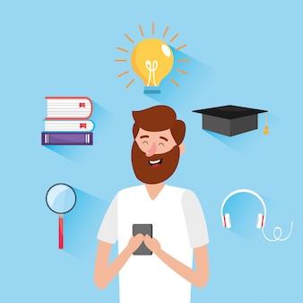 Mann mit bildungsbüchern und smartphone-technologie