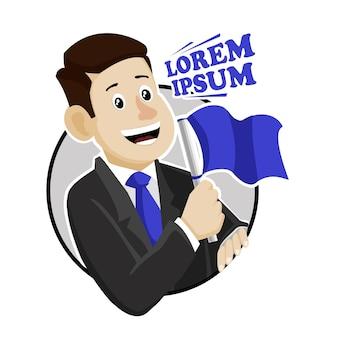 Mann mit blauer flagge für präsidententagsabzeichenentwurf
