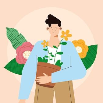 Mann mit blumen im zimmerpflanzencharakter