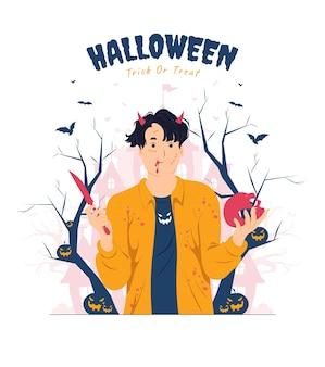 Mann mit blutspritzer, der schädel und messer auf halloween-konzeptillustration hält
