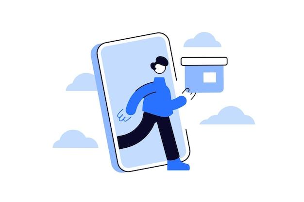 Mann mit box steigt vom smartphone-bildschirm ab