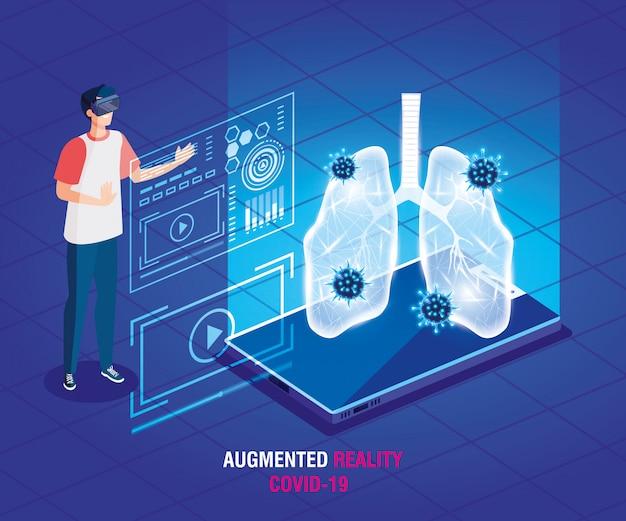 Mann mit brille virtuelle realität und smartphone, augmented reality, coronavirus covid-19 vektor-illustration design