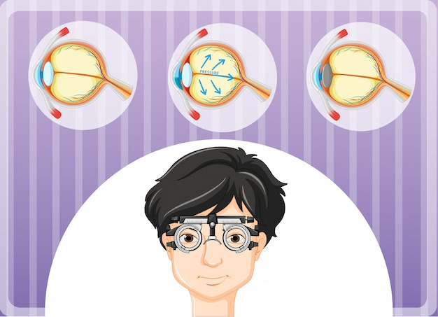 Mann mit brillen- und augenproblem