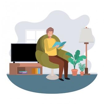 Mann mit buch im wohnzimmeravataracharakter