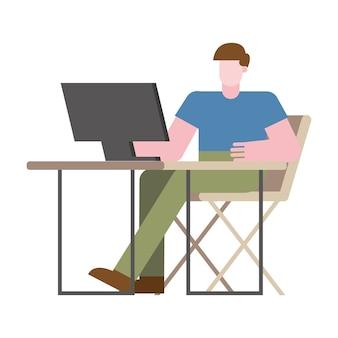 Mann mit computer am schreibtisch, der vom hauptentwurf des telearbeitsthemas vektorillustration arbeitet