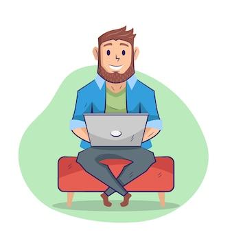 Mann mit computer flache illustration