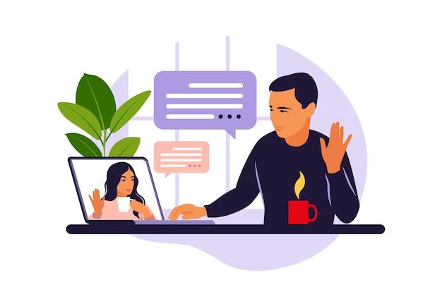 Mann mit computer-videokonferenz. mann am desktop, der mit freund online chattet. videokonferenz, fernarbeit, technologiekonzept. vektorillustration.
