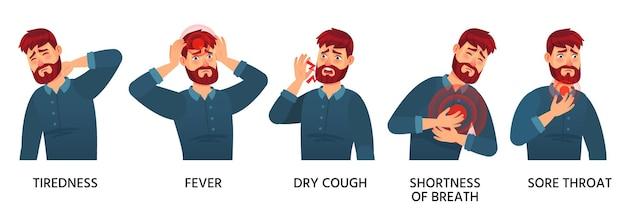 Mann mit covid-19-symptomen