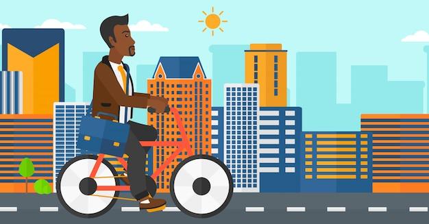 Mann mit dem fahrrad zur arbeit
