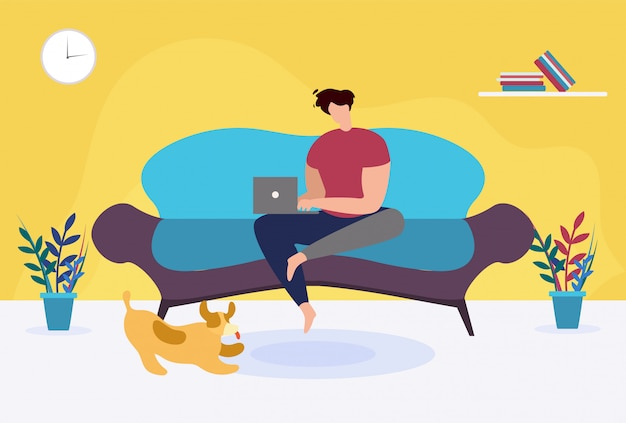 Mann mit dem laptop, der auf sofa cartoon sitzt. freiberufler, der zu hause arbeitet