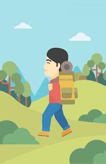 Mann mit dem rucksack, der vektorillustration wandert.