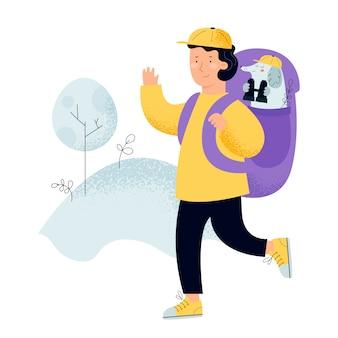 Mann mit dem rucksack, reisenden oder forscher, die auf naturwald schauen. junger tourist mit hund fernglas konzept der entdeckung, erforschung, wandern, abenteuer