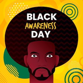 Mann mit dem schwarzen bewusstseinstag des langen haares