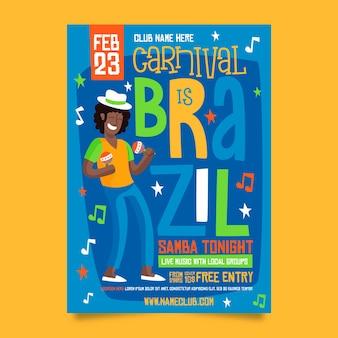 Mann mit der huthand gezeichnetem brasilianischem karnevals-parteiplakat