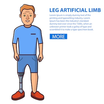 Mann mit einem bein künstliche extremität. junge person sportprothesen. der typ, der die behinderung überwunden hat.