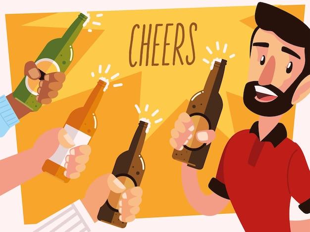 Mann mit einem bierglas und jubelnden händen mit flaschen