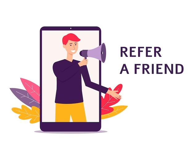 Mann mit einem lautsprecher verweisen eine freundempfehlung flache vektorillustration isoliert. banner für business-webseiten oder social-media-poster.