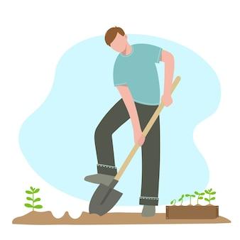 Mann mit einer schaufel gräbt löcher für das pflanzen von pflanzen vector