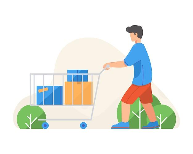 Mann mit einkaufslaufkatzen-flacher illustration