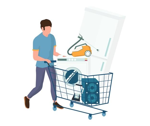 Mann mit einkaufswagen voller haushaltsgeräte, vektorillustration. konzept für den kauf von elektronik.