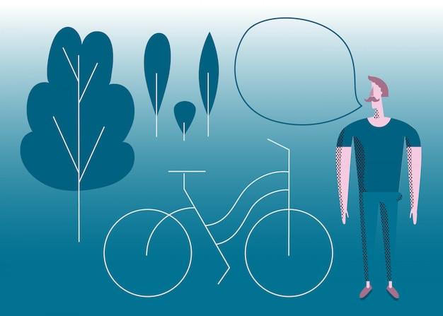 Mann mit fahrrad im park.