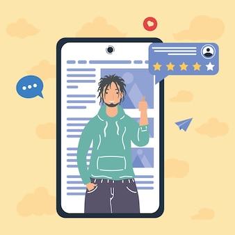 Mann mit feedback im smartphone