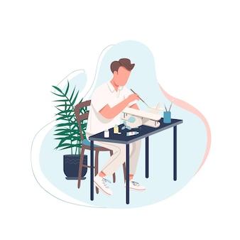 Mann mit flacher farbe gesichtslosen charakter des flugzeugmodells. mann, der heimwerkeraktivität zu hause tut. zeitvertreib für männliche erwachsene. handwerker isolierte karikaturillustration für webgrafikdesign und -animation